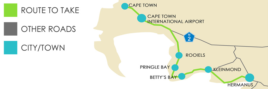 Coastal Map to Hermanus