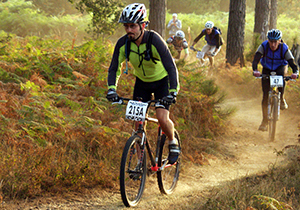 Mountain Bike Race in the Forest